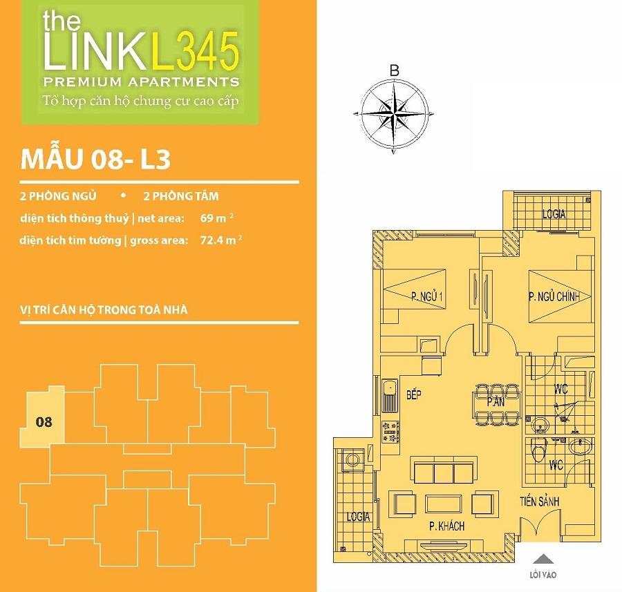 Mặt bằng căn hộ Chung cư The Link 345 Ciputra