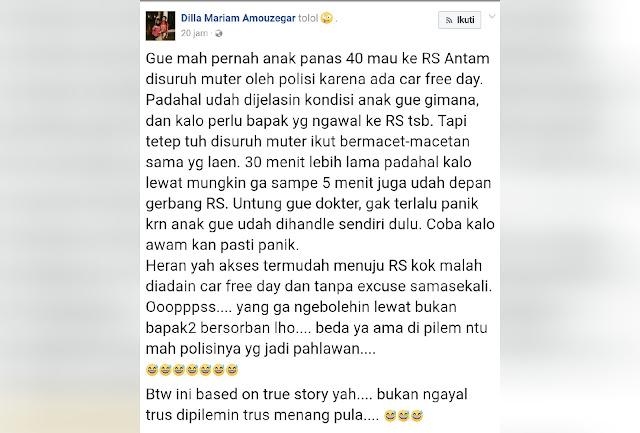 True Story: Pasien Mau ke RS Disuruh Putar oleh Polisi, Jalan Ditutup Car Free Day