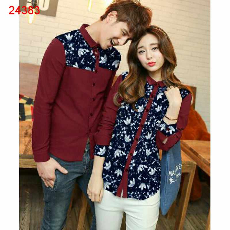 Jual Kemeja Couple Adidas Gum Maroon - 24383