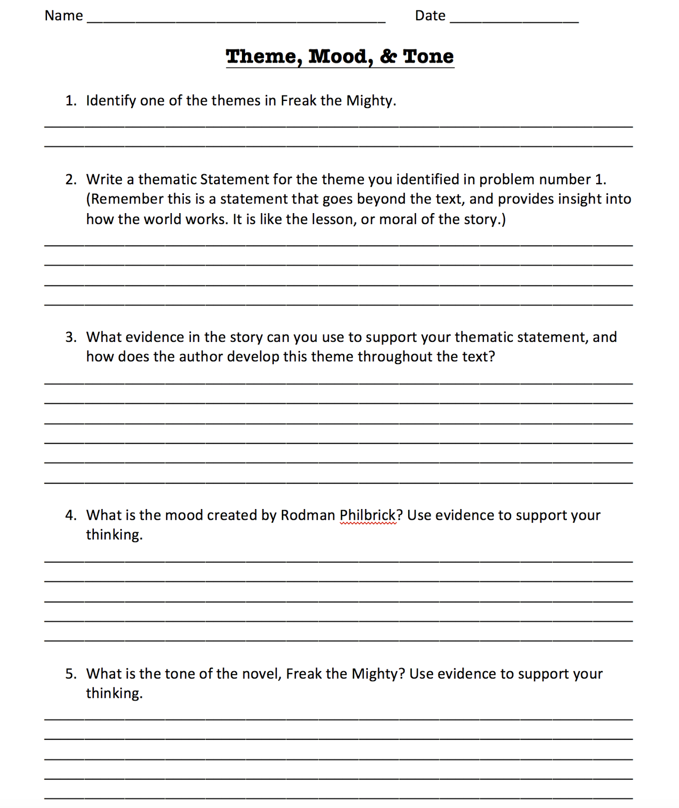 Theme Worksheets For Middle School Worksheets for all | Download ...