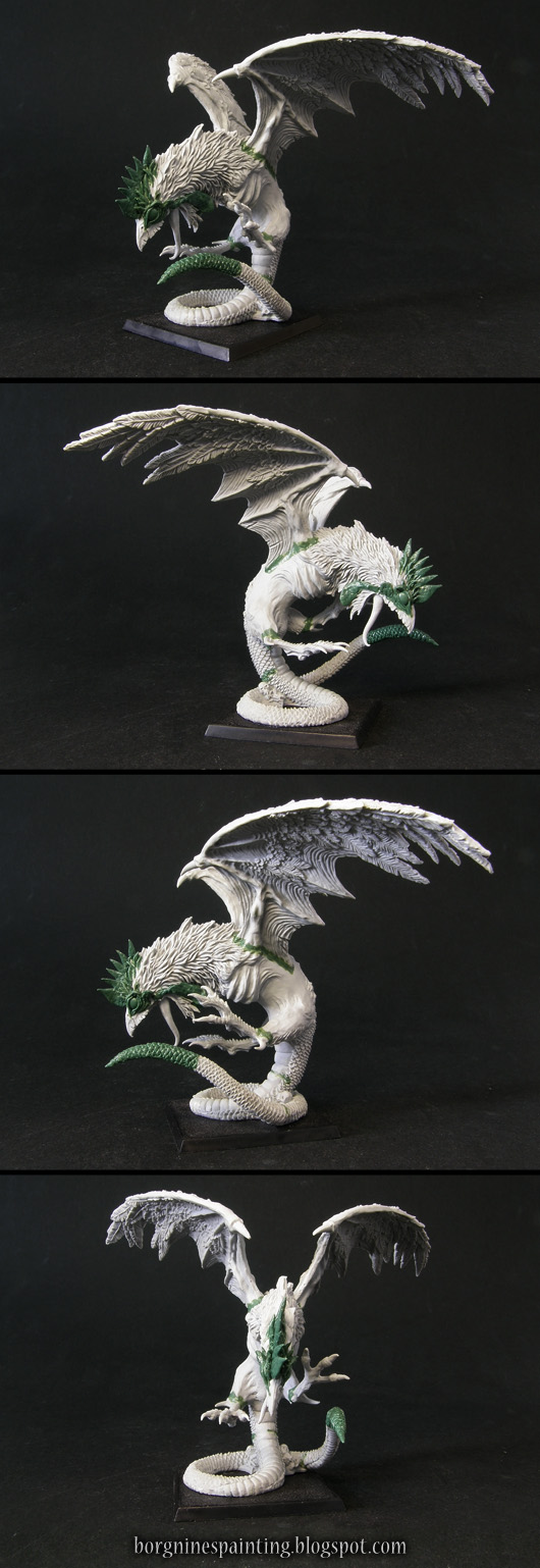 A single converted Chaos Cockatrice miniature on a square base, converted to look more like a Basilisk from Slavic folklore. He has a normal, snake tail, big eyes an a rooster's crest on his head, all sculpted out of greenstuff. The mini is usable in Warhammer Fantasy Battle (WFB) or Age of Sigmar (AoS).