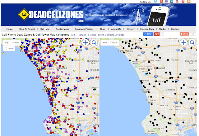 Dead Zones June - Map of cell phone coverage in us