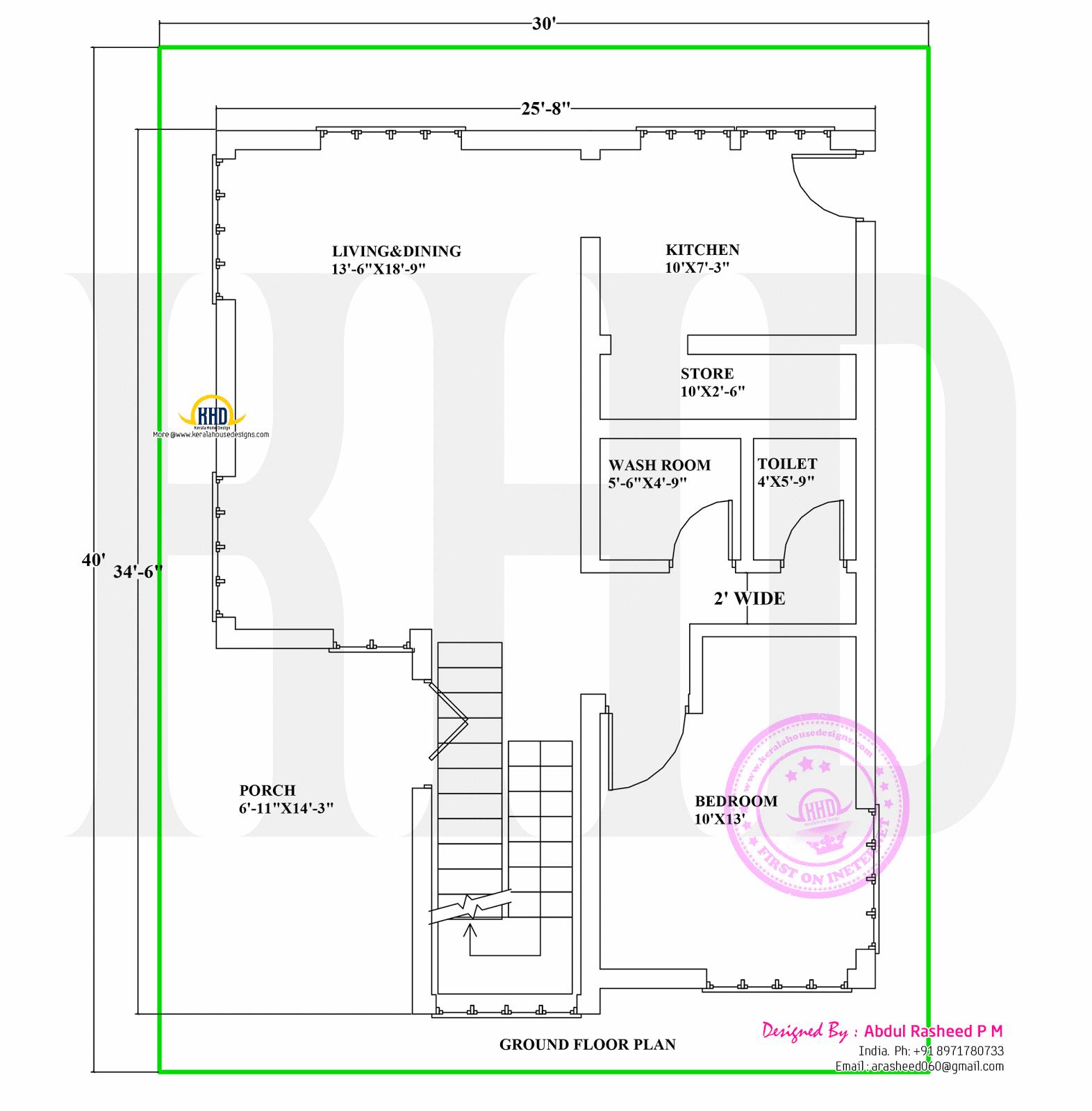 Plan G Elevation Data : Floor plan and elevation by abdul rasheed kerala home