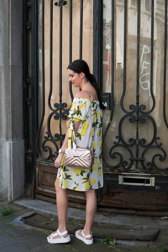Outfit: lemon print off shoulder dress, Teva flatforms