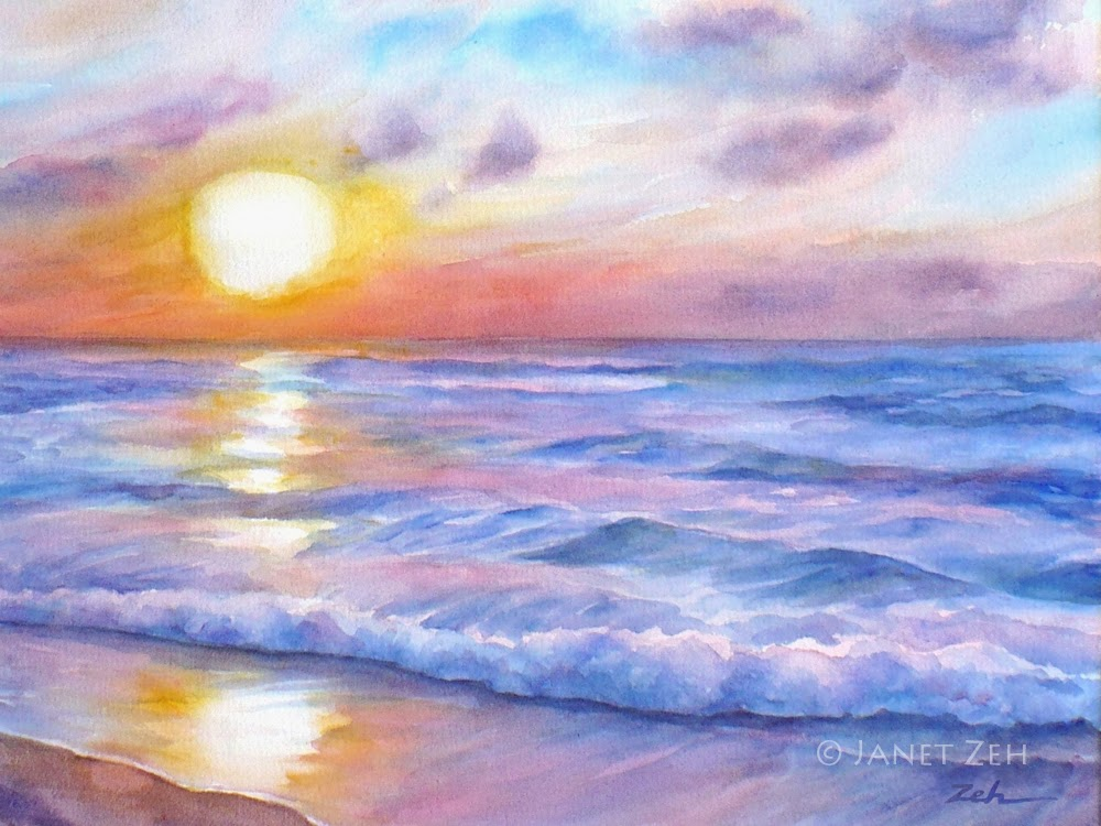 Watercolor Ocean Sunset | www.imgkid.com - The Image Kid ...