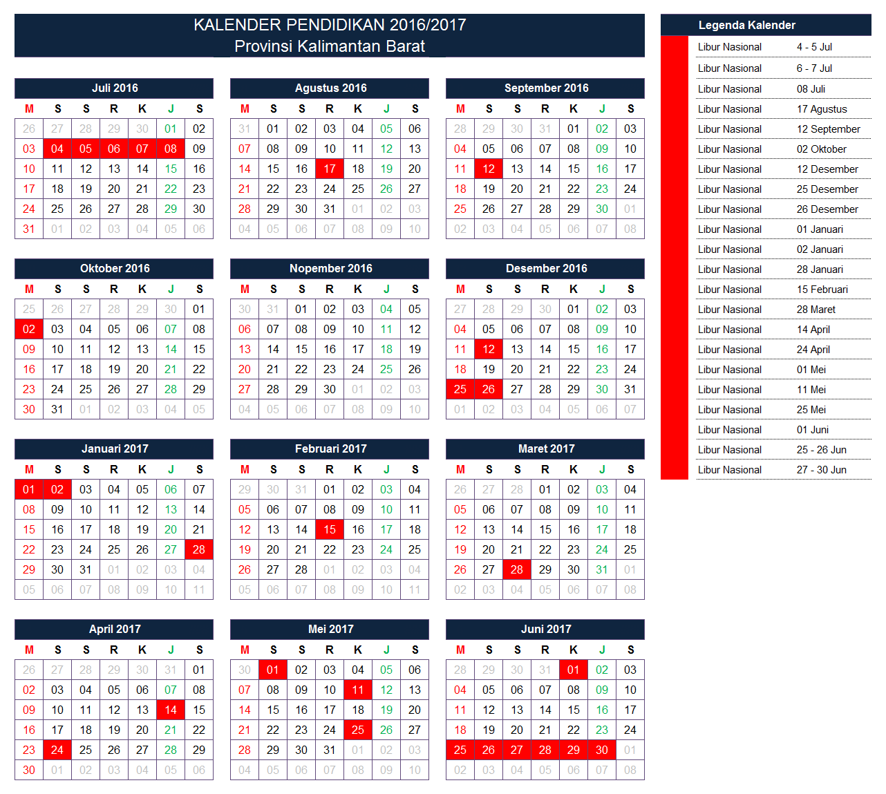 Kalender Pendidikan Provinsi Kalimantan Barat
