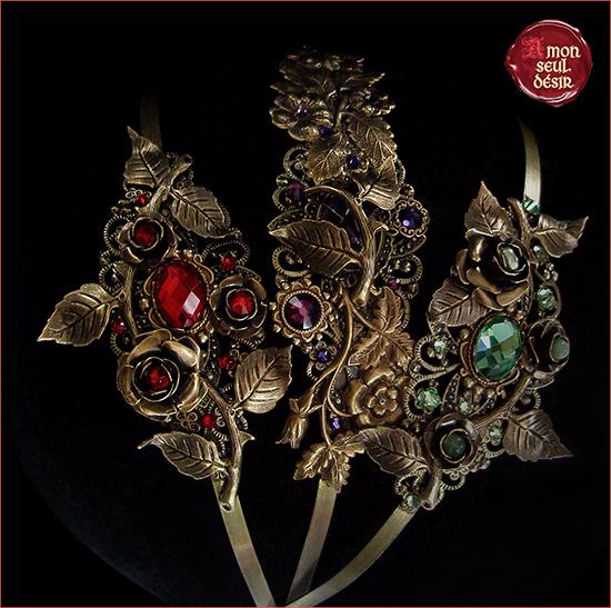serre tête fleurs floral bronze victorien elfique bijoux cheveux headband flower hair jewelry headdress elven victorien