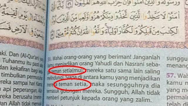 Awas! Alqur'an Terbitan Ini Pelintirkan Terjemahan Surat Al Maidah 51