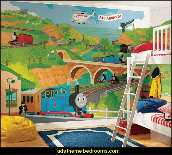 Thomas the Train Full Size Mural Wall Decal  Train themed bedroom decorating ideas - boys bedroom train theme decor  - train themed beds - train themed furniture - train theme bedding - train theme decorations - Thomas the tank bedroom - Thomas the tank theme bed - old world train themed bedroom - vintage style trains wall murals - choo choo trains wall decal stickers - Train Theme furniture