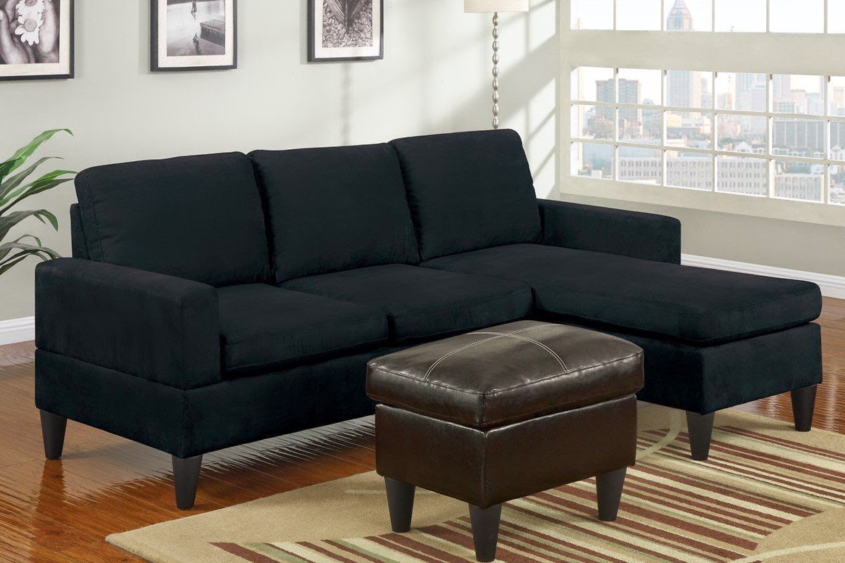 Couch with chaise for Black microfiber sectional sofa with chaise