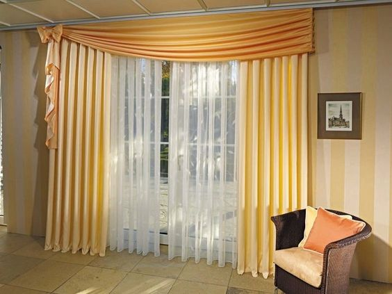 Modern window curtains in cute golden theme