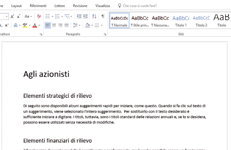 Come usare stili e temi documenti Word