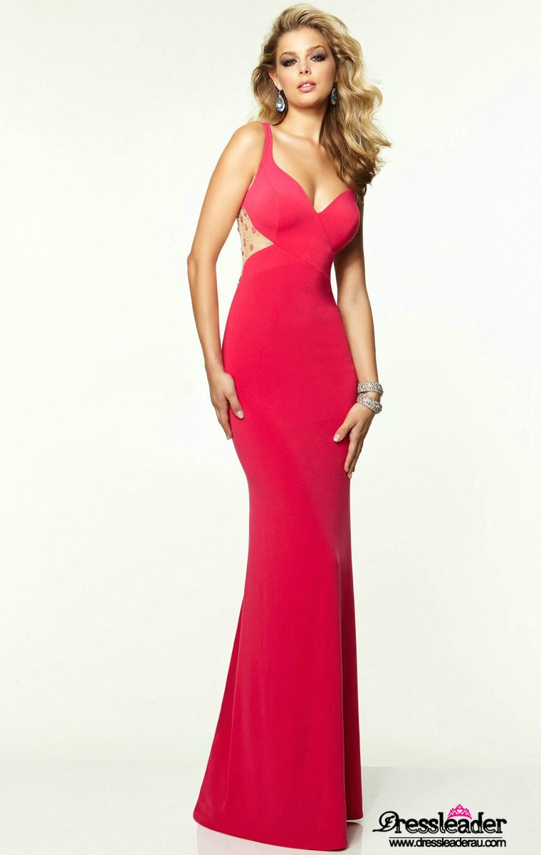Sexy Satin Floor Length Red Sweetheart Sheath Column Formal Dress