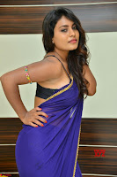 Actress Priya in Blue Saree and Sleevelss Choli at Javed Habib Salon launch ~  Exclusive Galleries 034.jpg