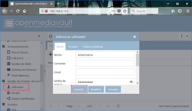 Openmediavault - Novo usuário