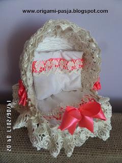 wózek, wiklina, papierowa, na chrzest, prezent, narodziny, dziewczynki, chłopczyka