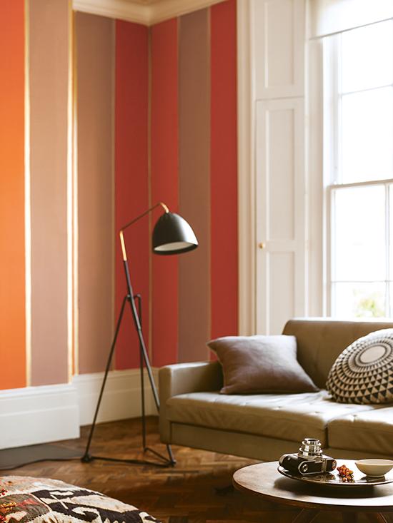 tintas coral, colour futures, copa, salmão, goiaba, listras na parede, parede listrada, parede colorida
