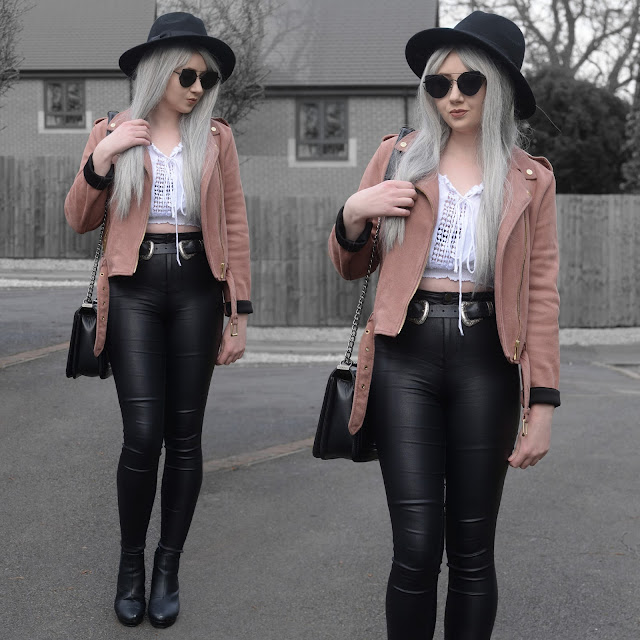 Sammi Jackson - Black Primark Fedora / Zaful Sunglasses / Primark Pink Suede Biker Jacket / Choies Off Shoulder Tie up Top / Primark Faux Leather Jeans / Choies Double Buckled Belt / OASAP Quilted Flap Bag / Office Chunky Heeled Boots