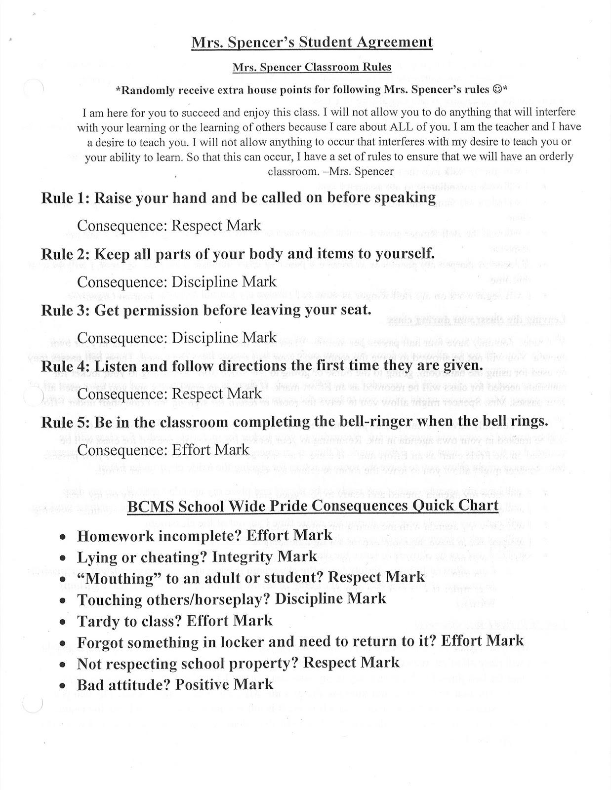 Bcms 6th Grade Social Studies Mrs Spencers Student Agreement