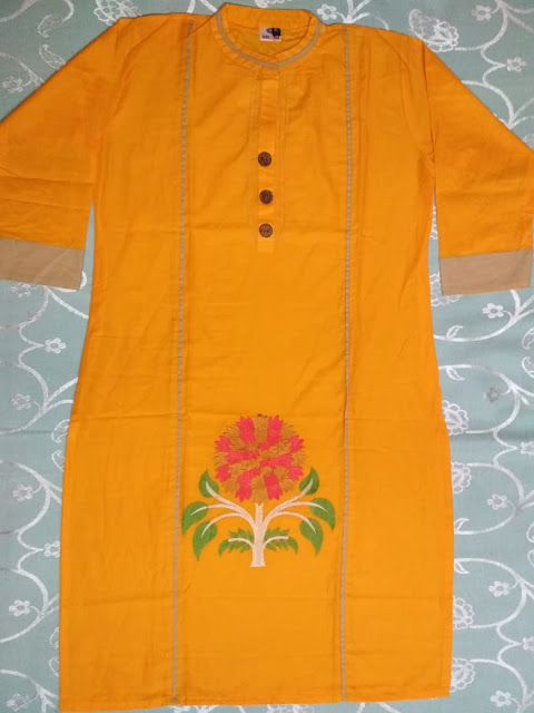 Embroidery Designer 100% Pure Cotton Kurti - Price Rs.450 Only