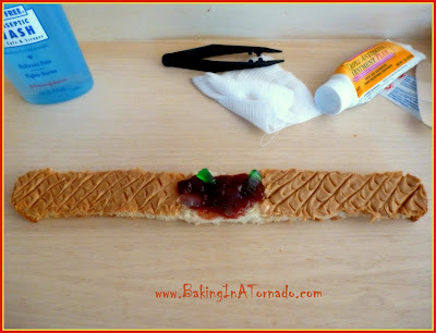 Bloody Bandaid Sandwich: simple to make, fun to serve, the perfect way to start the day during Halloween season | Recipe developed by www.BakingInATornado.com | #recipe #Halloween