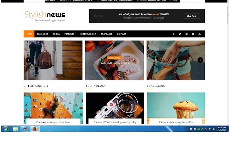 Template Blog Stylish News Blogger Seo Responsive
