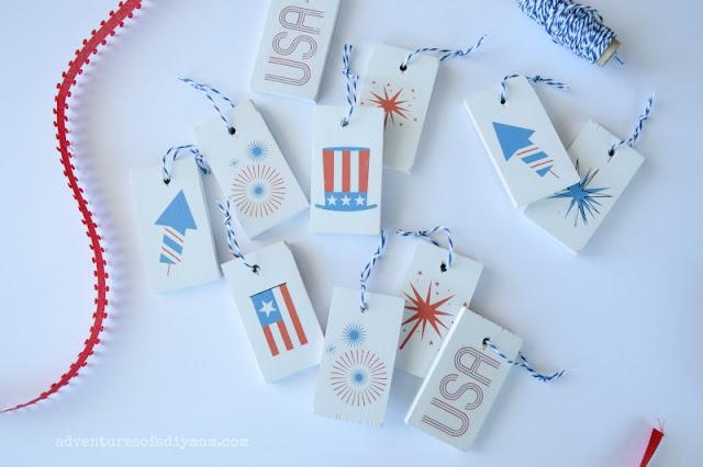 DIY patriotic wooden tags using temporary tattoos