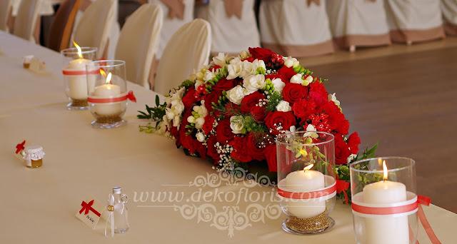 Czerwone dekoracje kwiatowe wesela Jemielnica opolskie