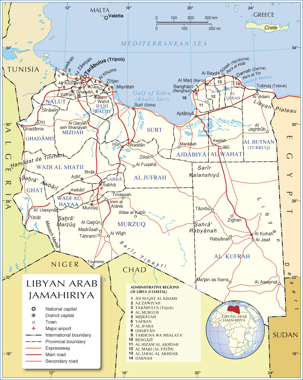 Líbia | Mapas Geográficos da Líbia