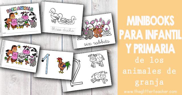 Minibooks para educación infantil y educación primaria de los animales de la granja y la serie numérica hasta el diez. Estos cuadernos imprimibles sirven como libros de lectura y repaso para el aula de idiomas.