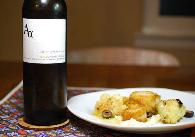 Domaine Sigalas Assyrtiko-Athiri Santorini with Scallops, Roasted Veggies, and Preserved Lemon Cauliflower Cream. Recipe by Nicole Ruiz Hudson. Photo by Greg Hudson..