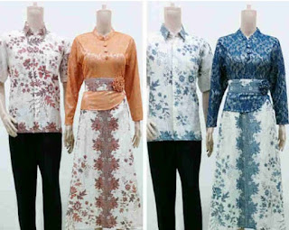 Model Dress Batik Kombinasi Brokat pasangan