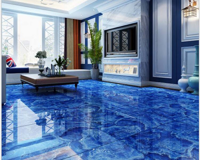 glossy 3D flooring tiles for modern living room interiors