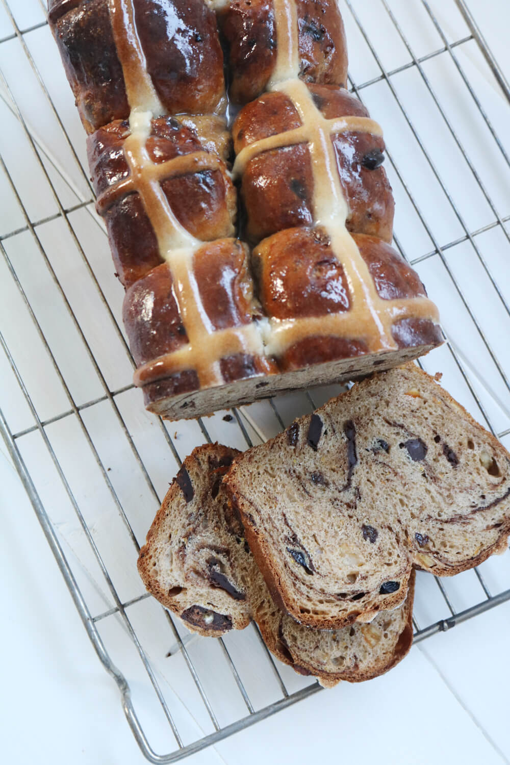 Chocolate and Orange Hot Cross Bun Loaf | Hungry Little Bear