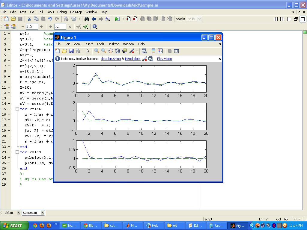 Programming Tips: Non Linear Extended Kalman filter Matlab