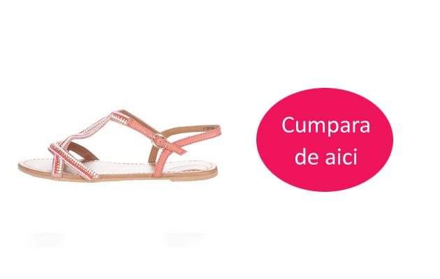 Sandale de piele simple fara toc roz Dorothy Perkins