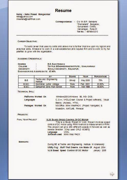 Matrimonial Resume Format