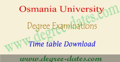 OU degree 2nd sem time table 2018 osmania 1st year ug exam dates pdf