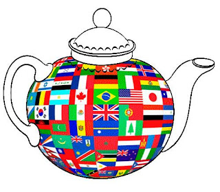 Drawing of teapot covered in international flags
