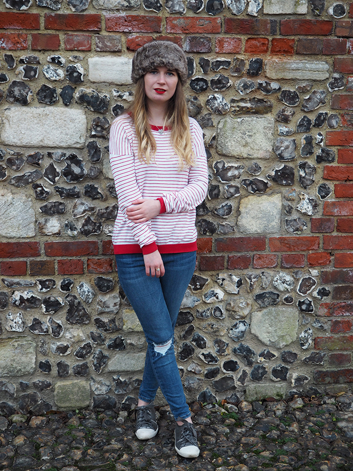 ASOS stripe top with elbow patch fashion bloggers