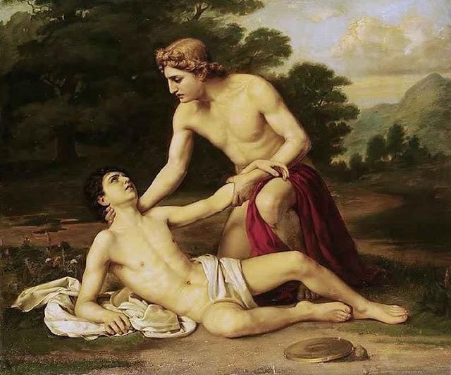 www.fertilmente.com.br - Ilustração mostra jovem soldado, reconhecido por seu manto carmim, com seu amante