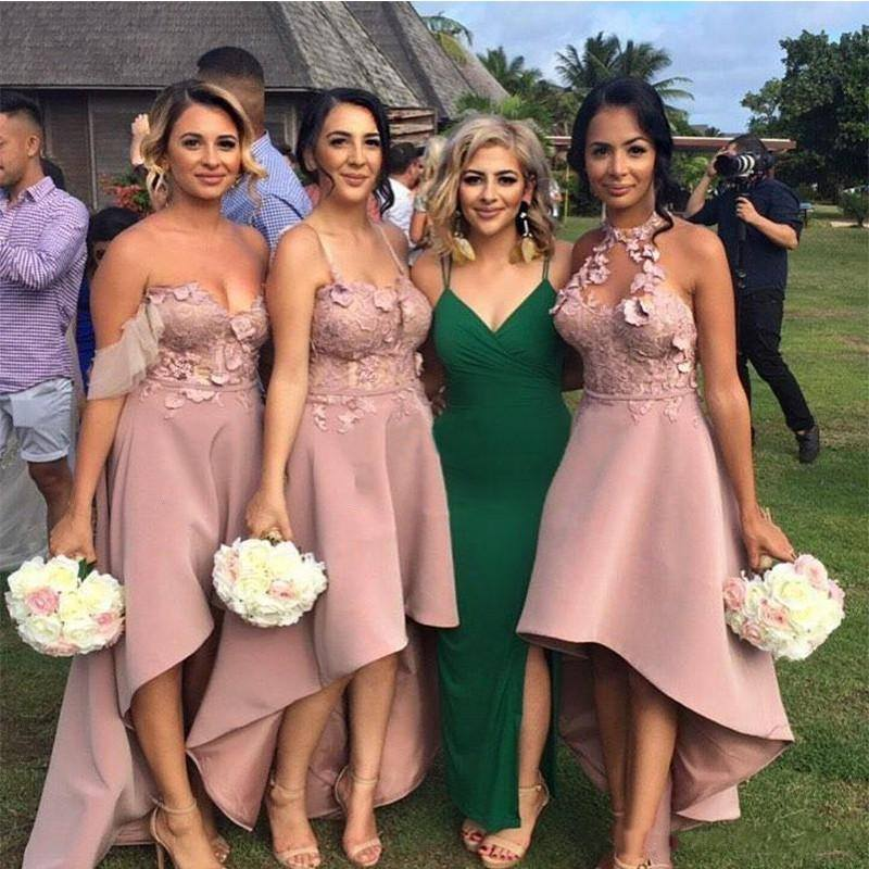 Sexy Hi-Lo Bridesmaid Dresses | Appliques Sleeveless Wedding Guest dresses