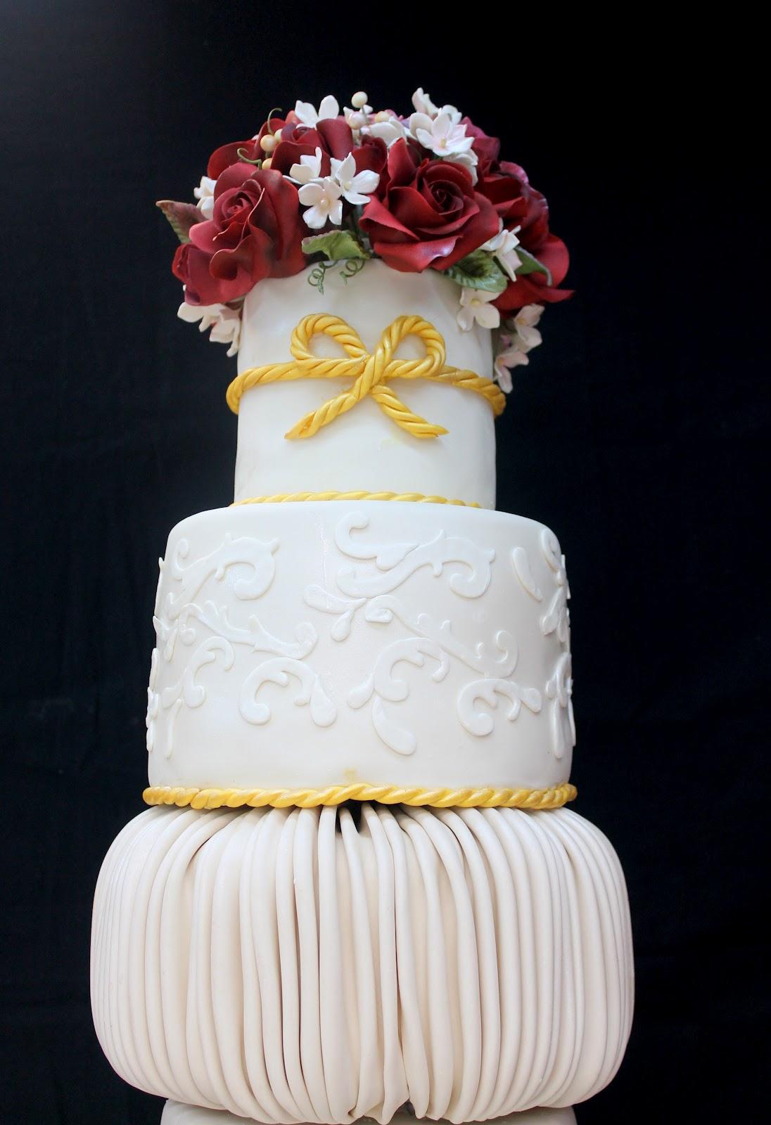 Complete Deelite 7 Tier Burgundy Rose Wedding Cake