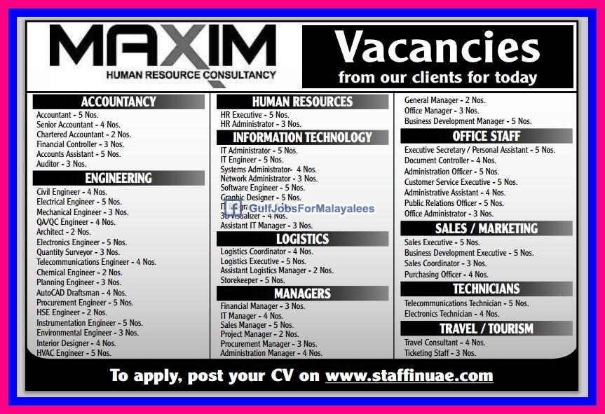 New Job Openings Today Uae Large Job Vacancies Gulf