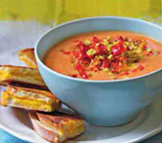 creamy tomato soup with corn and peppers recipe
