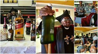 pastor holding a bottle of beer