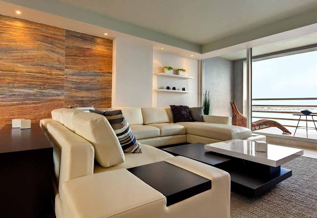 winning apartment living room ideas with modern brown leather sectional sofa and modern three tier coffee table