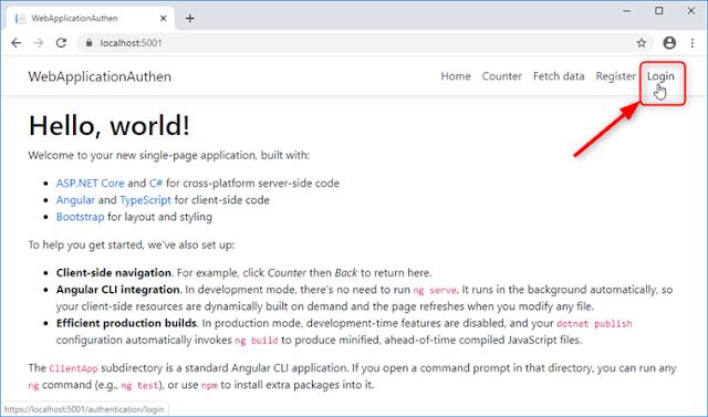 Template d'application ASP.NET Core 3.0 avec Authentification