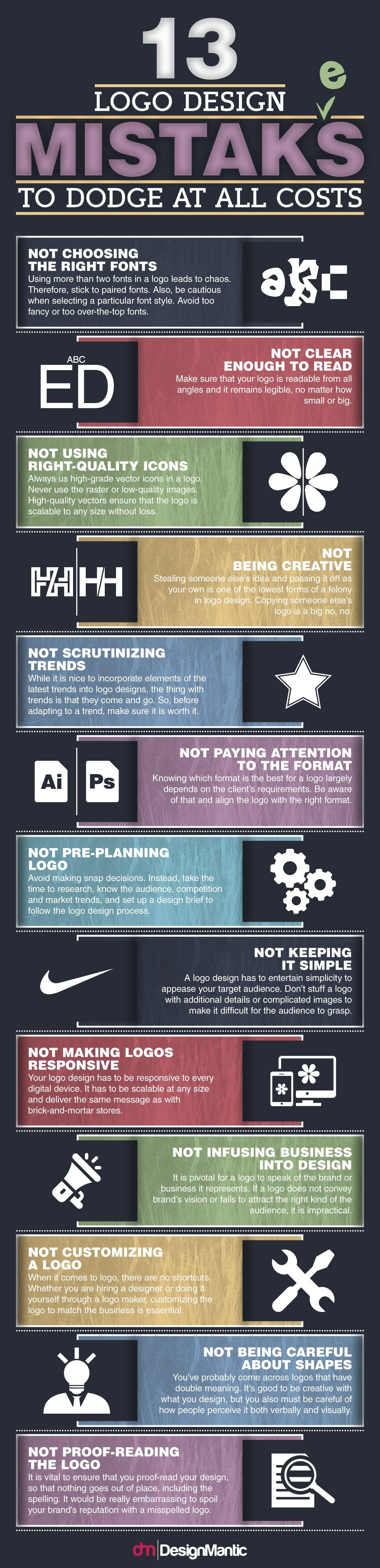 13 Logo Design Mistakes To Dodge At All Costs #Infographic