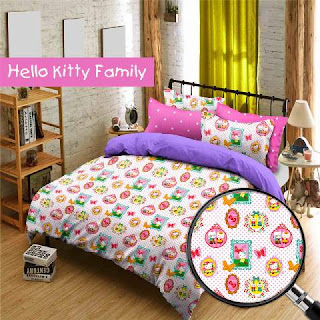 Sprei Hello Kitty Family Bahan Cotton Star terbaru